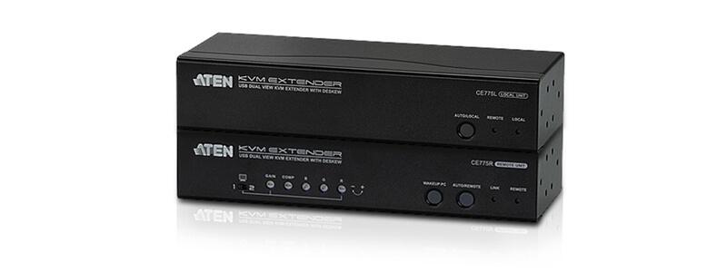 CE775 USB VGA Dual View Cat 5 KVM Extender with Deskew (1280 x 1024@300m)